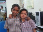 Friends at a computer center for government schools in Chennai.