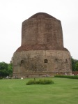 Stupa at Sarnath.  Bhudda preached his first sermon here and this is a sacred spot for Bhuddhists.